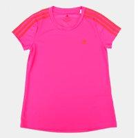 Camiseta Infantil Adidas D2M 3 Stripes Feminina - Rosa+Vermelho