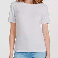 Camiseta Feminina Básica Em Algodão - Branco