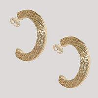 brinco feminino argola média texturizada dourado - único