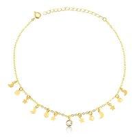Tornozeleira com pingentes e ponto de luz folheado em ouro 18k - Dourado