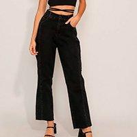 calça reta jeans com recorte cintura super alta sawary preta