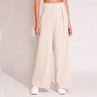 calça wide pantalona com linho e pregas alfaiataria cintura super alta bege
