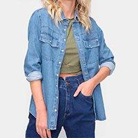 Camisa Jeans Dzarm Manga Longa Feminina - Azul Claro