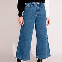 calça wide cropped jeans cintura super alta azul médio