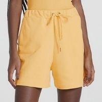 Shorts De Moletom Feminino Com Bolsos - Amarelo