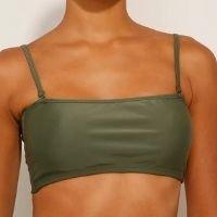 biquíni top faixa com bojo e alça removíveis proteção uv50+ verde militar