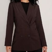 blazer alongado marrom escuro