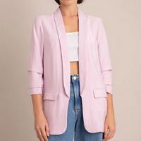 blazer feminino longo com bolsos manga 7/8 lilás