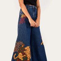 calça jeans pantacourt amor animal