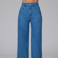 Quintess - Calça Pantalona com Bolsos Jeans Claro