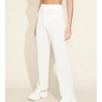 calça de tricô feminina mindset reta cintura super alta canelada off white