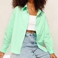 camisa oversized de algodão manga longa verde