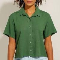 camisa de viscose manga curta verde