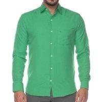 Camisa Social Teodoro Masculina Manga Longa Slim Fit Casual Azul Claro GG - Verde