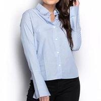 Camisa Camisete Social Feminina Listrada Manga Longa Casual - Azul