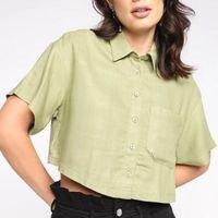 Camisa Dzarm Cropped Lisa Botões Feminina - Verde