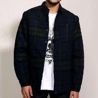 camisa de flanela masculina overshirt estampada xadrez manga longa azul marinho