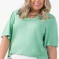 Rovitex Plus Size - Camisa Feminina de Botões Verde