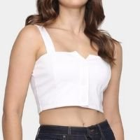 Blusa Cropped Moda Loka Botões Feminina - Off White