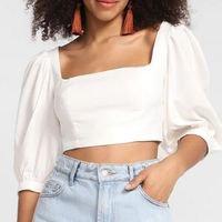Blusa Cropped Farm Decote Quadrado Feminina - Off White