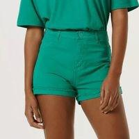 Shorts Feminino Em Sarja Cintura Alta - Verde