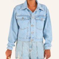 jaqueta cropped refarm jeans