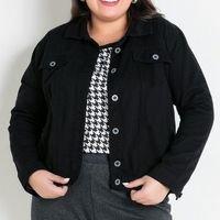 Marguerite - Jaqueta Preta Plus Size com Bolso Decorativo
