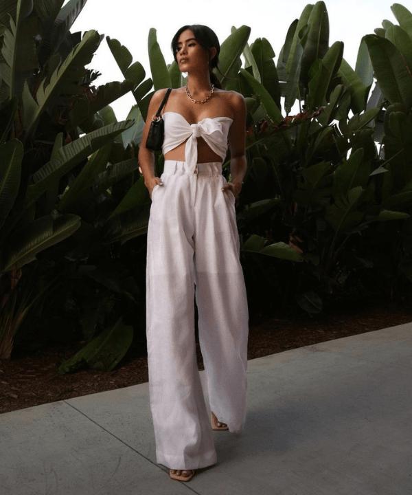 Jill Wallace - Look monocromático  - calça pantalona - Verão - Steal the Look  - https://stealthelook.com.br