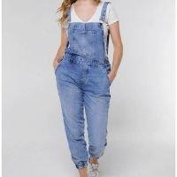 Macacão Jardineira Jeans Jogger Sob com Bolsos Feminino - Azul