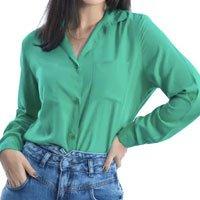 Camisa Feminina Social Manga Longa na Cor Verde - Fernanda Ramos Store