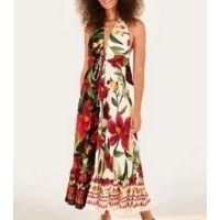 vestido cropped floral padang