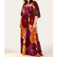 vestido longo sonho de chita