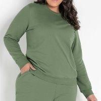 Basicamente - Casaco Verde Plus Size com Decote Redondo