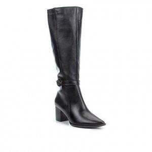 Bota Couro Shoestock Cano Longo Fivela Feminina - Feminino - Preto