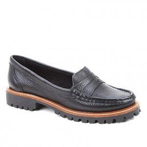 Mocassim Couro Shoestock Tratorado Feminino - Feminino - Preto