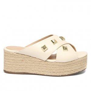 Tamanco Plataforma Shoestock Corda Rebites - Feminino - Off White