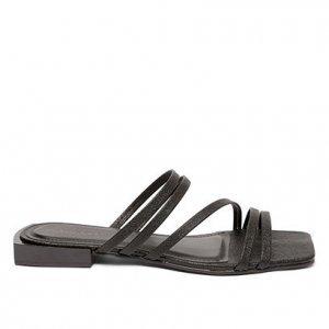 Rasteira Shoestock Tiras Color - Feminino - Preto