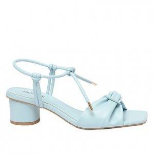 Sandália Shoestock Fivela Color Salto Bloco Feminina - Feminino - Azul Claro