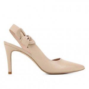Scarpin Couro Shoestock Laço Salto Alto - Feminino - Nude