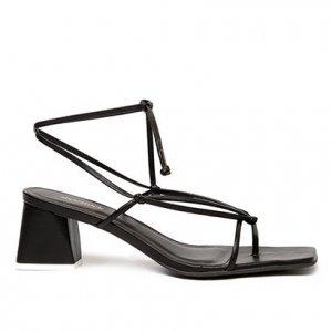 Sandália Shoestock Tiras Color Salto Bloco Feminina - Feminino - Preto