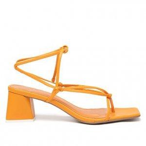 Sandália Shoestock Tiras Color Salto Bloco Feminina - Feminino - Laranja