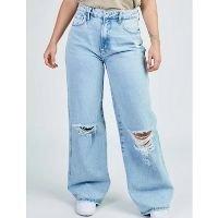 Calça Jeans Pantalona Blue Claro Rasgos - Azul