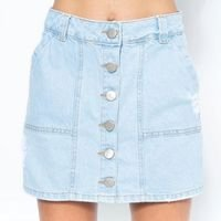 Short Saia Jeans com Botões Lady Rock - Jeans