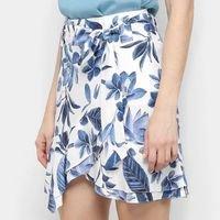 Saia Maria Filó Curta Floral Transpassada Babados - Azul