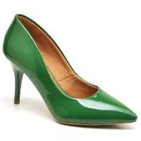 Scarpin Ellas Online Salto Médio Feminino - Verde