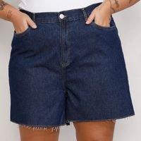short jeans feminino plus size mindset los angeles cintura alta azul escuro