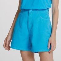 Shorts Feminino Mom Em Sarja De Algodão - Azul