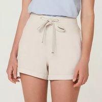 Shorts Feminino Em Tecido Com Linho - Off White