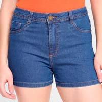 Short Jeans Ecxo Basic Feminino - Azul