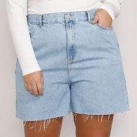 short jeans feminino plus size mindset los angeles cintura alta azul claro marmorizado